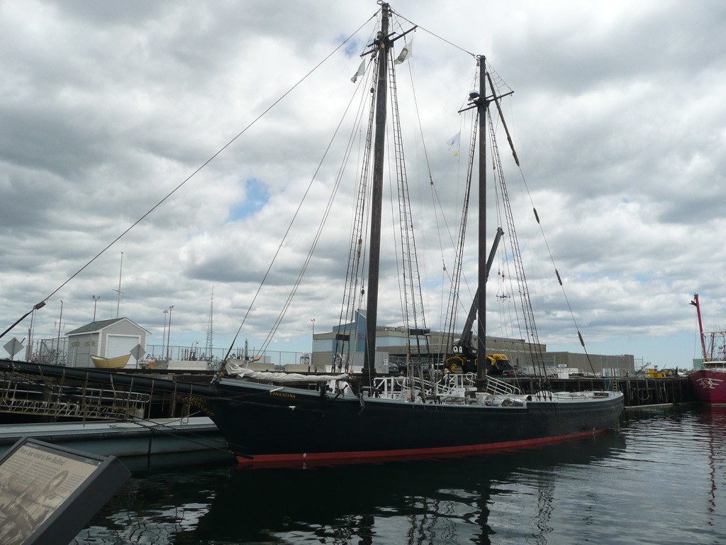 The Schooner Ernestina  at its berth in New Bedford, Mass. The Boothbay Harbor Shipyard won the contract to restore the Ernestina, which is listed as a National Historic Landmark and is the official vessel of the Commonwealth of Massachusetts.