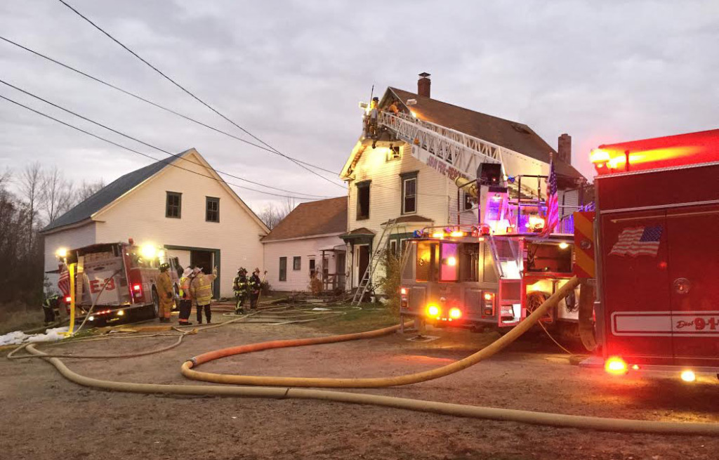 Firefighters from New Gloucester, Gray, Raymond, Poland, Pownal and North Yarmouth were on the scene at 12 Abby Lane Tuesday morning. New Gloucester Fire & Rescue photo