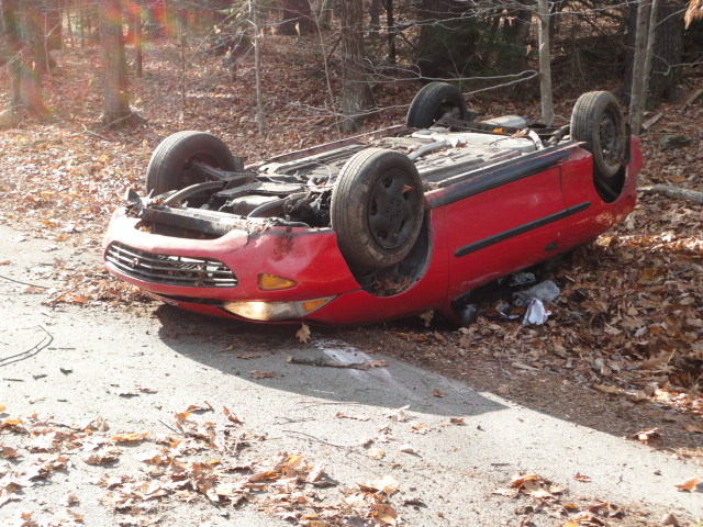 Police say they were surprised that Andrew Chapman received only minor injuries when his Chevrolet Cavalier flipped over Thursday.