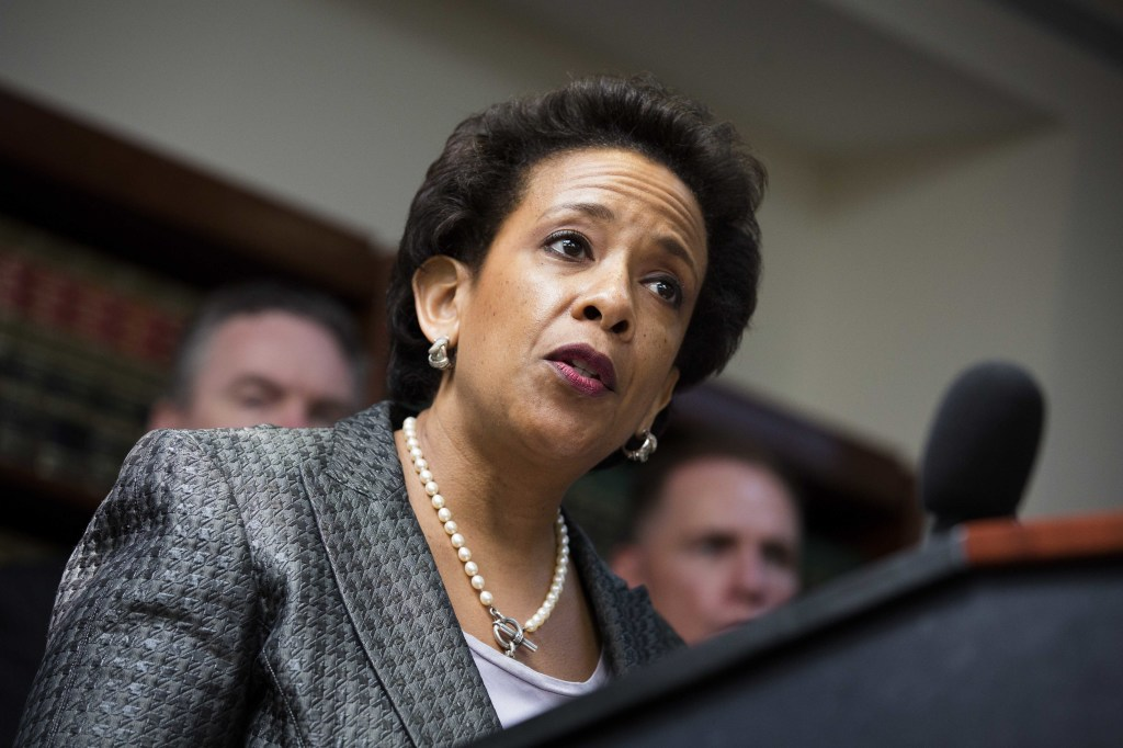 Loretta Lynch, U.S. attorney for the Eastern District of New York, holds a news conference in Brooklyn in this June 17, 2013, photo. The Associated Press