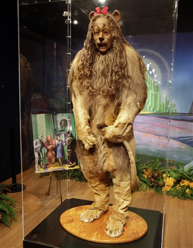 "Bert Lahr's Cowardly Lion costume from ""The Wizard of Oz,""  part of the ""There's No Place Like Hollywood"" movie memorabilia auction that took place at Bonhams auction house in New York Monday. The Associated Press"