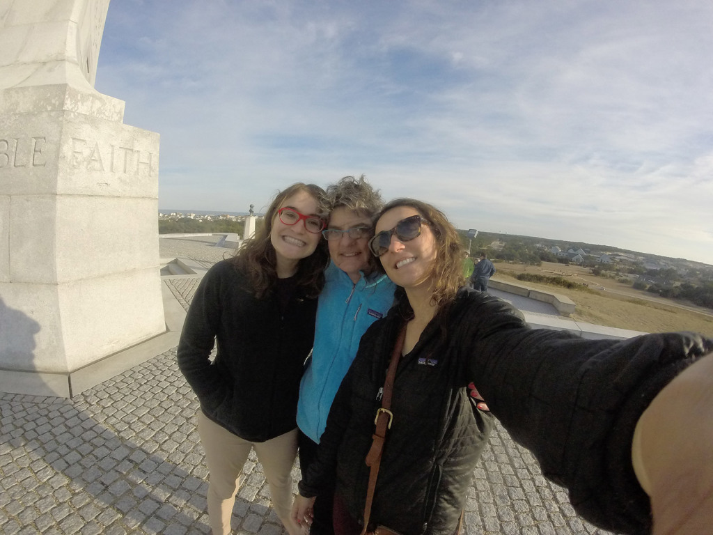 Sally takes a selfie with her mother and sister who visited on board for Thanksgiving.