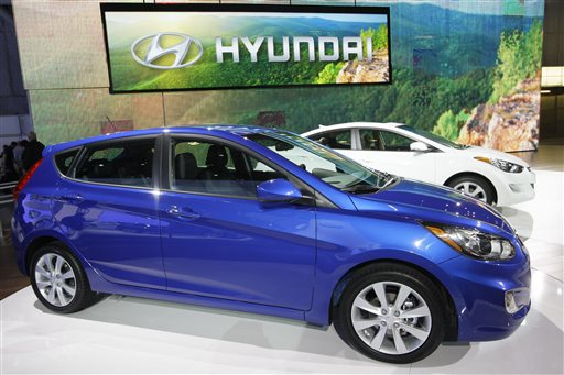 A Hyundai Accent, foreground, and Elantra on display at the New York International Auto Show in 2011. The Associated Press