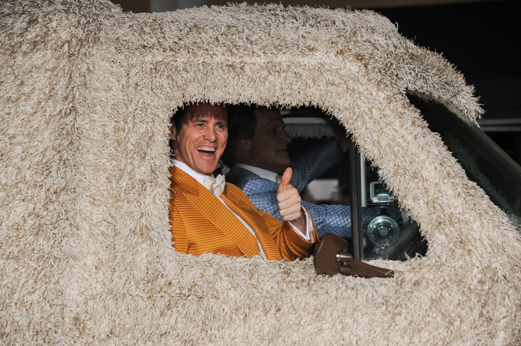 "Jim Carrey and Jeff Daniels arrive at the Los Angeles premiere of ""Dumb And Dumber To"" on  Nov. 3, 2014. Photo by Richard Shotwell/Invision/AP"