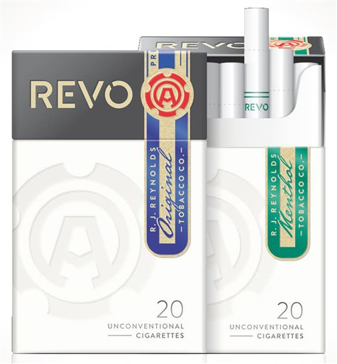 Revo cigarettes in an image provided by Reynolds American, the nation's second-biggest tobacco company. The cigarettes use a carbon tip that heats tobacco after being lit. The Associated Press