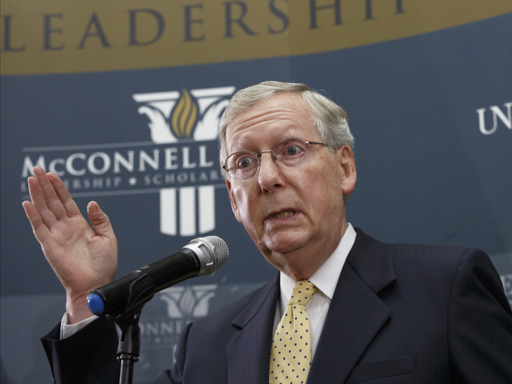Senate Republican leader Mitch McConnell of Kentucky holds a news conference on the day after his party gained enough seats to control the Senate in next year's Congress and make McConnell majority leader, in Louisville, Ky., on Wednesday.
