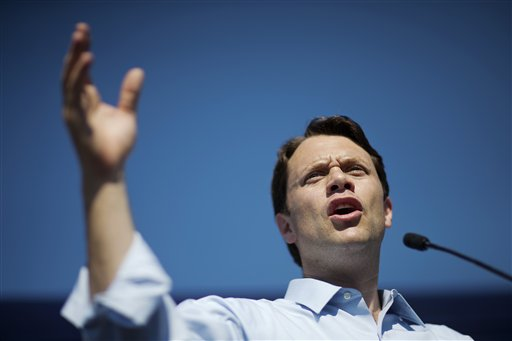 Georgia Democratic gubernatorial candidate Jason Carter speaks during a campaign stop in Columbus, Ga., in this Oct. 27, 2014, photo. Carter, former President Jimmy Carter's grandson,  lost by about 8 percentage points even after a well-funded campaign and ambitious voter-registration drive. The Associated Press