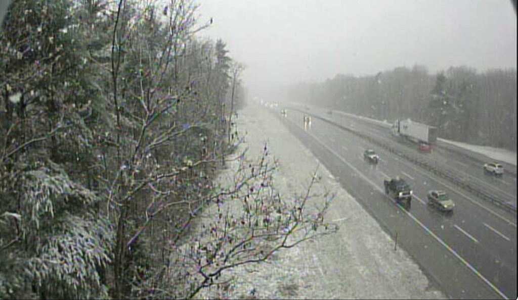 Web cam of turnpike looking south from the Flag Pond Road overpass in Saco at 12:19 p.m..