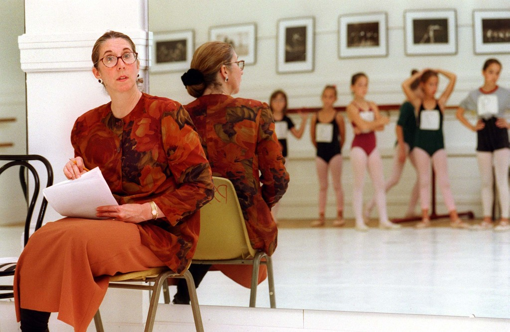 "(FILE) Eugenia O'Brien, Artistic Director of the Portland Ballet Company, watches young dancers during an audition for the company's annual production of ""A Victorian Nutcracker"" in 1999."
