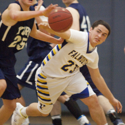 York's Trevor LaBonte and Falmouth's  Nick Wissemann fight for a loose ball during varsity basketball action in Falmouth on Friday, December 12, 2014.  Carl D. Walsh/Staff Photographer