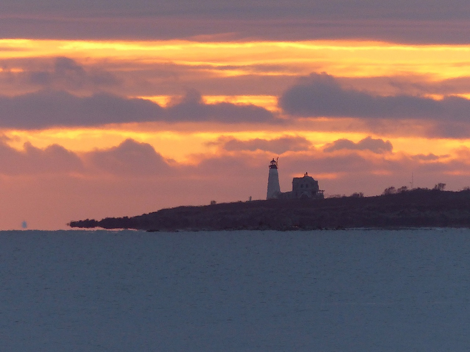 Among the wonders of another sunrise over Saco Bay – a mirage that makes the tip of Wood Island Light seem to levitate above the sea. Laurie Blair Ernst of Saco took this gem from the beach at Kinney Shores.