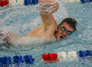 South Portland's Thomas Richards swims in the 200-meter freestyle event Friday as Westbrook faces South Portland in a meet at the Westbrook Community Center. Richards completed the race in 2:07.