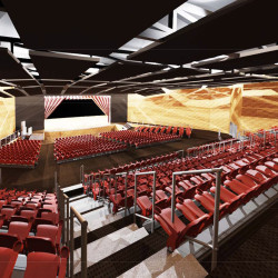 A rendering of the school auditorium by Lavallee Brensinger Architects.