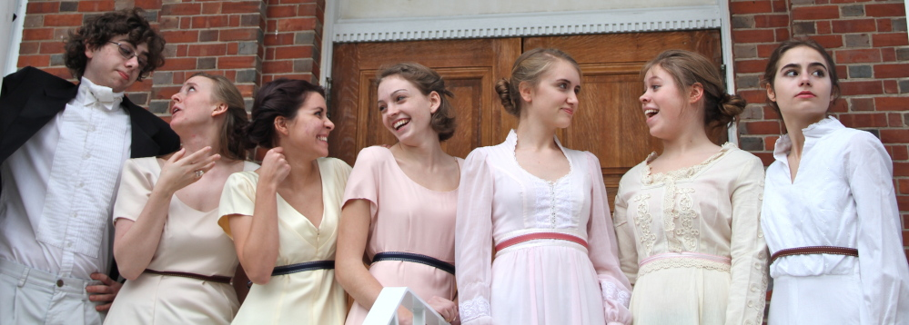 """The Thornton Academy Players will present Jane Austen's """"Pride and Prejudice"""" on Thursday, Friday and Saturday at Garland Auditorium on the TA campus in Saco. The actors are, from left, Robbie Faucher, Haleigh McKechnie, Jenna Scott, Aja Sobus, Katie Dube, Sabena Alle and  Brooke Nadeau."""