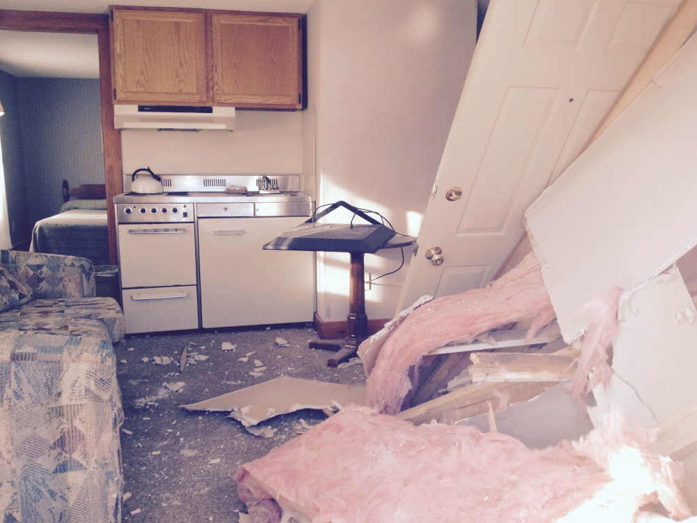 The inside of the house at 172 Madison Ave. in Skowhegan is in disarray after the house was hit by a tractor-trailer early Tuesday morning.