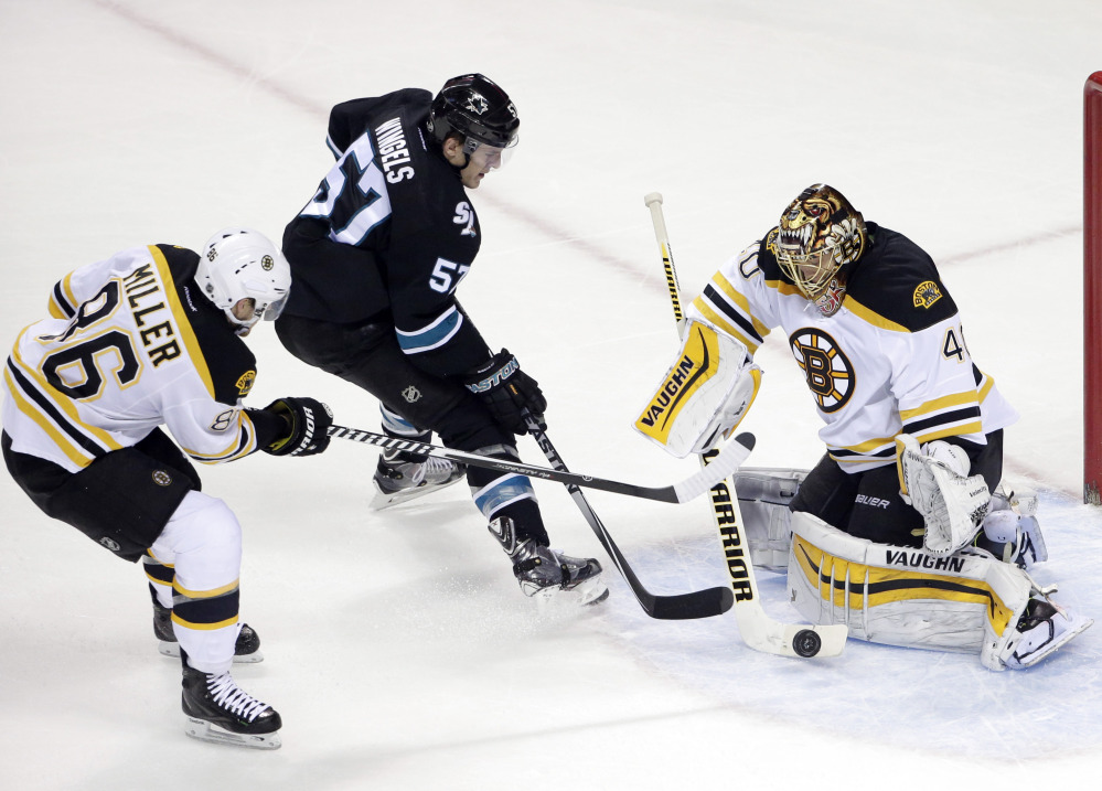Bruins goalie Tuukka Rask stops a shot from Sharks center Tommy Wingels as Bruins defenseman Kevan Miller closes in during the first period Thursday in San Jose, Calif.