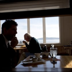 John Holmes of Belfast, at window, lunches at Seng Thai, where the views of the mouth of the Passagassawakeag River and Belfast Bay are spectacular.