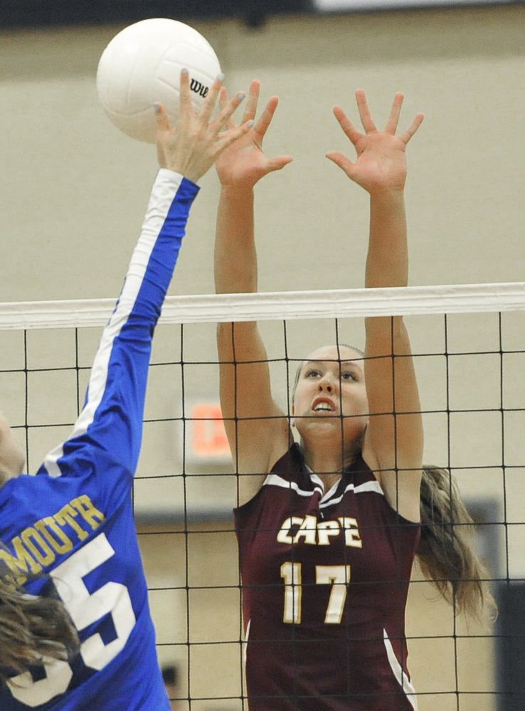 Tess Haller helped Cape Elizabeth reach new heights this season. Her dominant play from a new position was instrumental to the Capers' first volleyball state title.