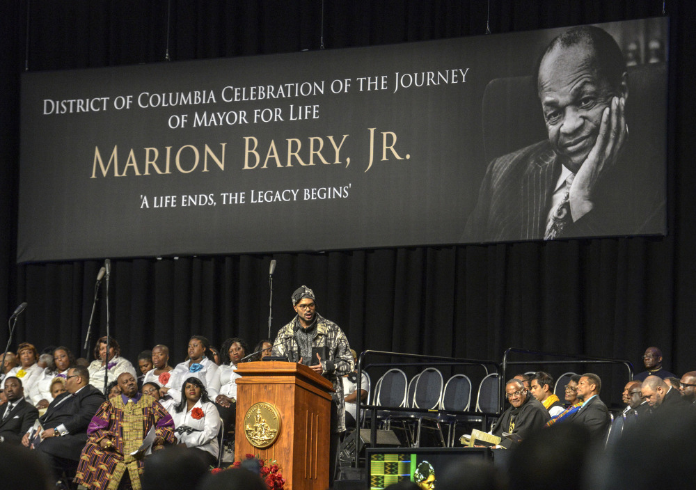 Christopher Barry, son of Marion Barry, speaks during the funeral service for his father at the Convention Center on Saturday in Washington.