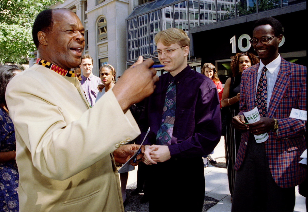 "Marion Barry, left, is shown campaigning. He has been dubbed ""Mayor for Life"" of Washington."