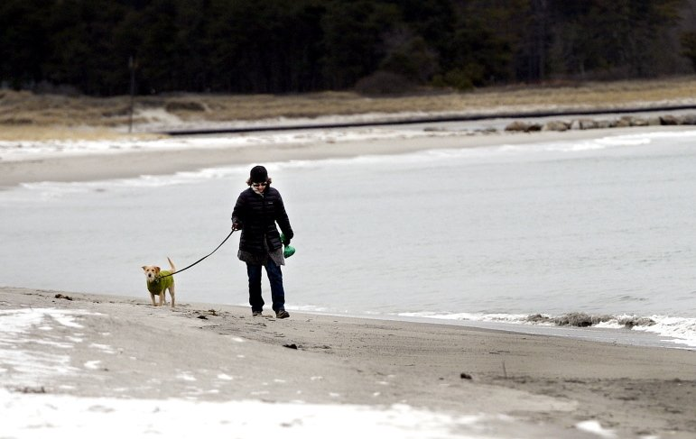 Francine O'Donnell of Portland takes a frigid walk along Pine Point Beach in Scarborough with her dog Grace on Monday afternoon. Warmer weather is expected to bring moisture with it today, with rain predicted along the coast and a foot or more of snow expected in the mountains.