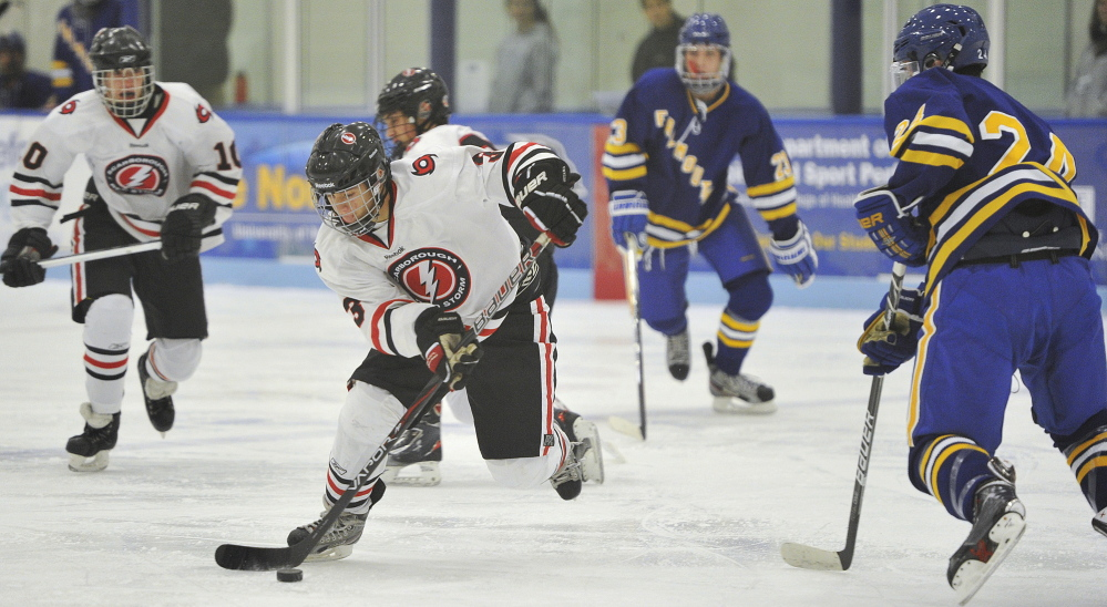 Matt Caron, center, will be counted on to carry the goal-scoring load for Scarborough, which was hit hard by graduation.