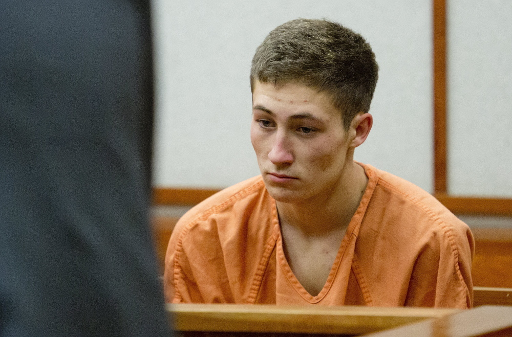 Logan Valle, 18, of Falmouth, makes his initial appearance in Cumberland County Unified Criminal Court on  Nov. 18, after he was arrested on charges of burglary, theft and attempted theft stemming from incidents in Falmouth. A police affidavit indicates that police have probable cause to believe that Valle also set a fire in his family's Falmouth home.