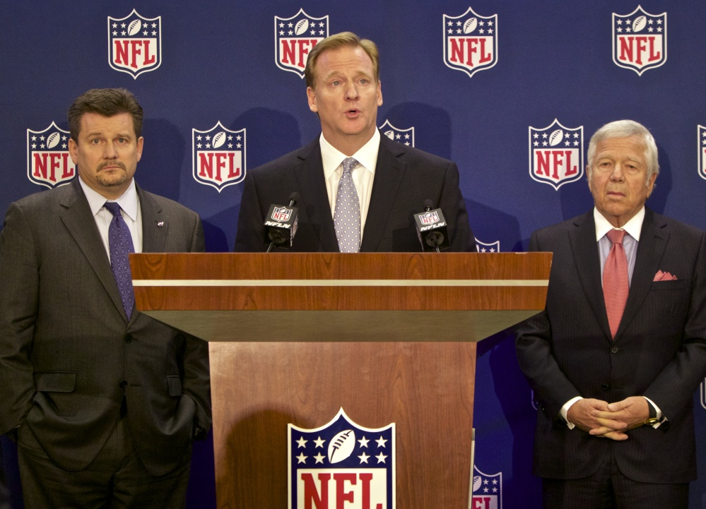 Arizona Cardinals President and Chairman of the NFL's new Conduct Committee, Michael Bidwill, left, and New England Patriots owner Robert Kraft, right, look on as NFL commissioner Roger Goodell, center,  speaks at an NFL press conference announcing new measures for the league's personal conduct policy during an owners meeting, Wednesday, in Irving, Texas.