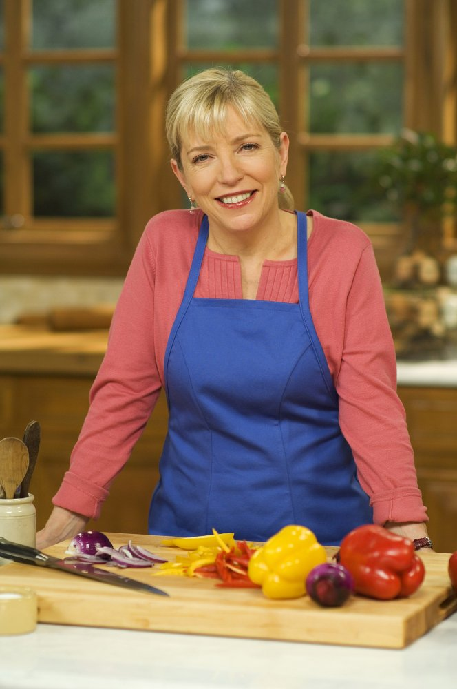 "Sara Moulton on the set of her PBS show, ""Sara's Weeknight Meals."""