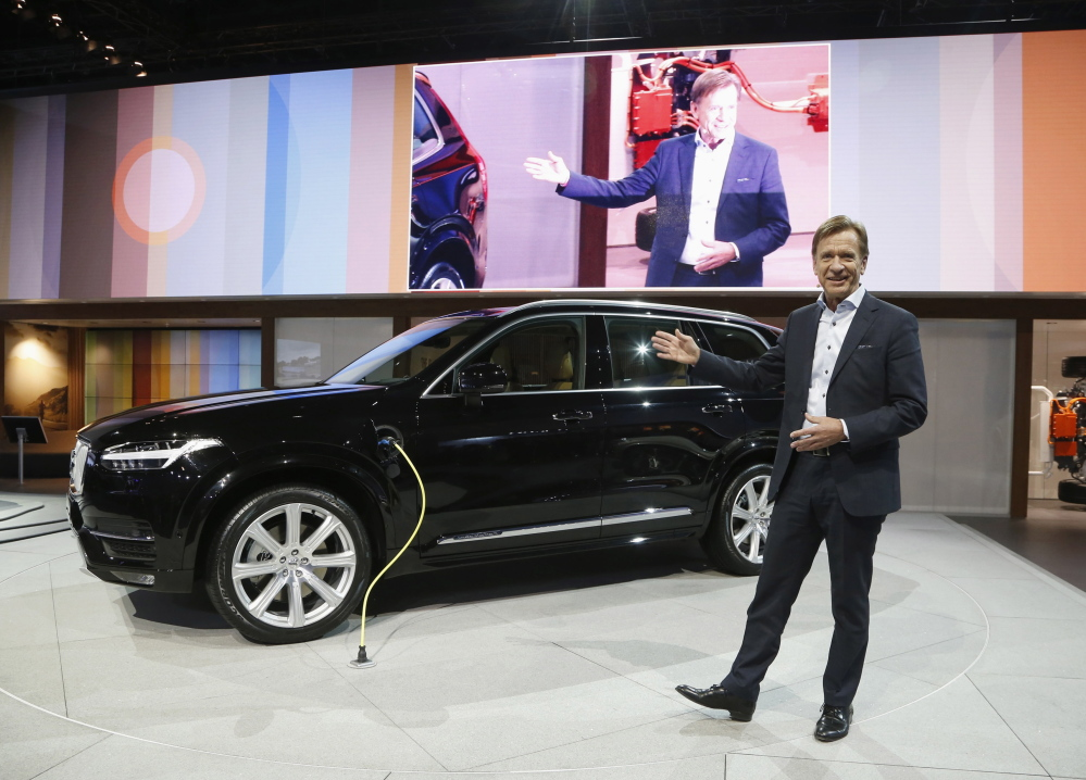 Hakan Samuelsson, CEO of Volvo Car Group, discusses the 2016 Volvo XC90 at the Los Angeles Auto Show last month. Volvo plans to gradually start selling online globally.