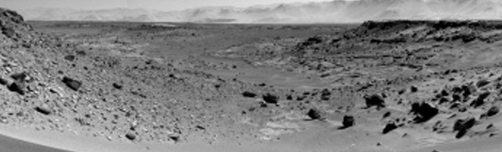 A mosaic of images from the Mars rover camera shows the terrain to the west from the rover's position on Jan. 30. During the past year, the rover picked up a dramatic tenfold spike in methane gas that lasted several weeks.