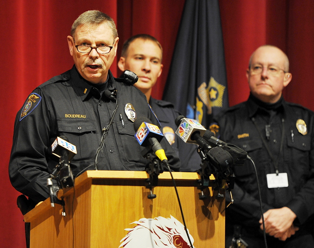 "Windham police Lt. Jim Boudreau told a news conference Wednesday morning at the high school that ""there was a potential for danger to students and staff"" in the emailed threats case."