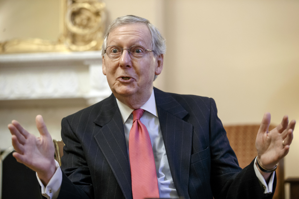 "Incoming Senate Majority Leader Mitch McConnell, R-Ky., talks about his agenda in an interview with The Associated Press. The Environmental Protection Agency ""has created a depression in my state and it's done a lot of damage to the country ... with these efforts to essentially eliminate coal-fired generation,"" he said."