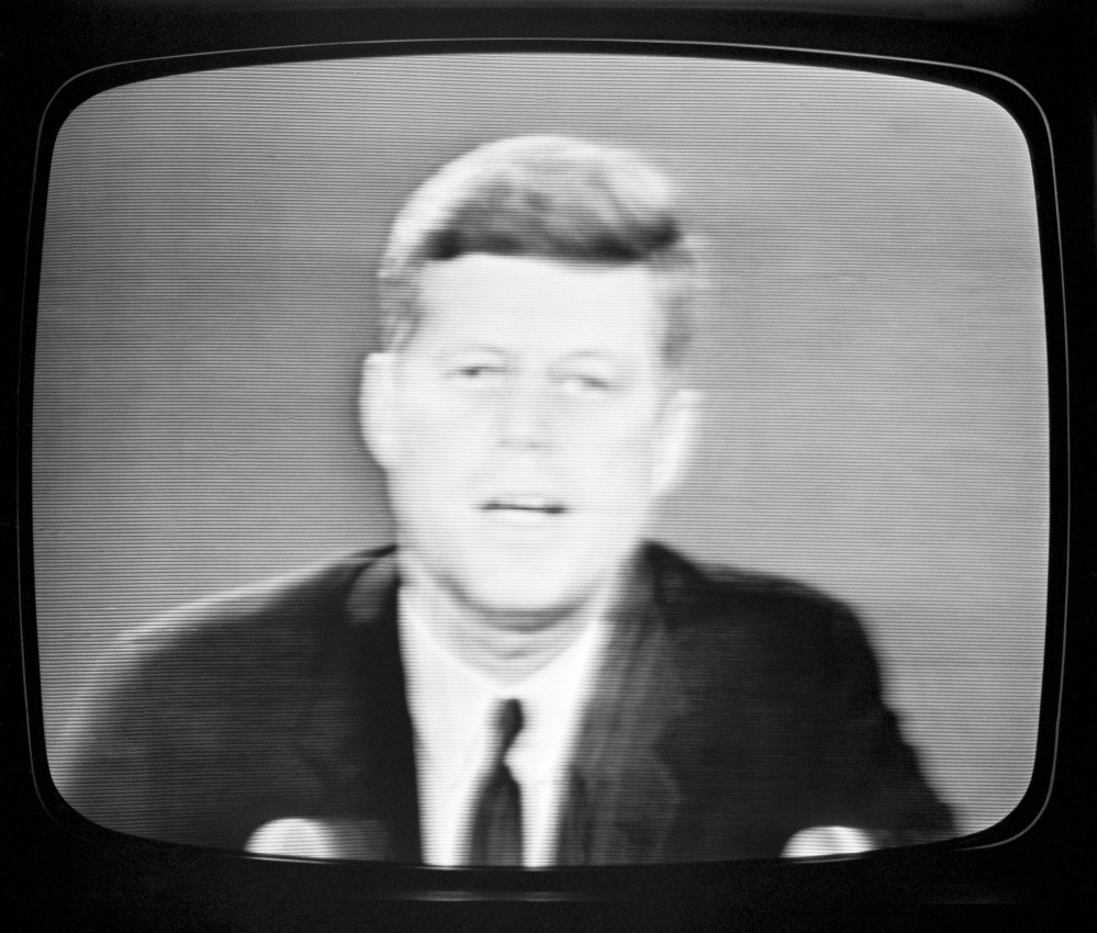 President John F. Kennedy appears on television on Oct. 22, 1962, to announce a naval blockade.