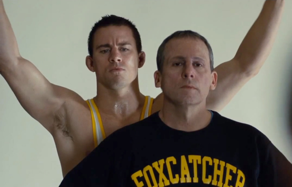 "Channing Tatum, left, and Steve Carell in ""Foxcatcher."""