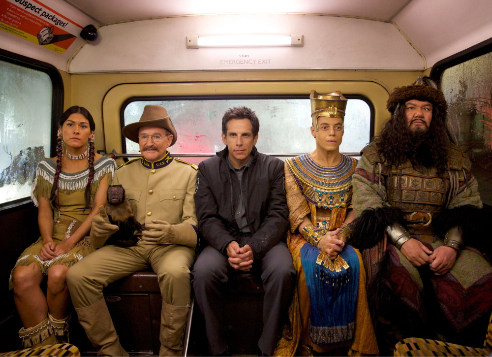 "Mizuo Peck, Robin Williams, Ben Stiller, Rami Malek and Patrick Gallagher in ""Night at the Museum: Secret of the Tomb."""