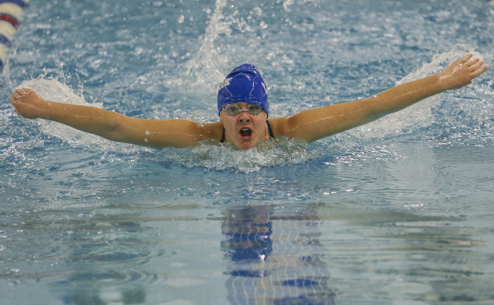 Madison Damon of Westbrook swims the butterfly leg of the 200-meter individual medley. Damon finished third behind teammate Kari Brown and South Portland's Sarah Micucci with a time of 2:52.54. The Blue Blazes lost, 94-77.