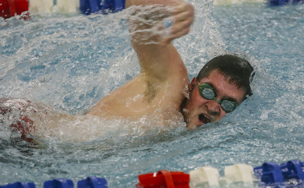Thomas Richards of South Portland competes in the 200-meter freestyle Friday afternoon during a meet against Westbrook at Westbrook's Davan Pool. Richards won the race with a time of 2:07.04 and also was on two winning relay teams, helping the Red Riots to a 104-57 victory.