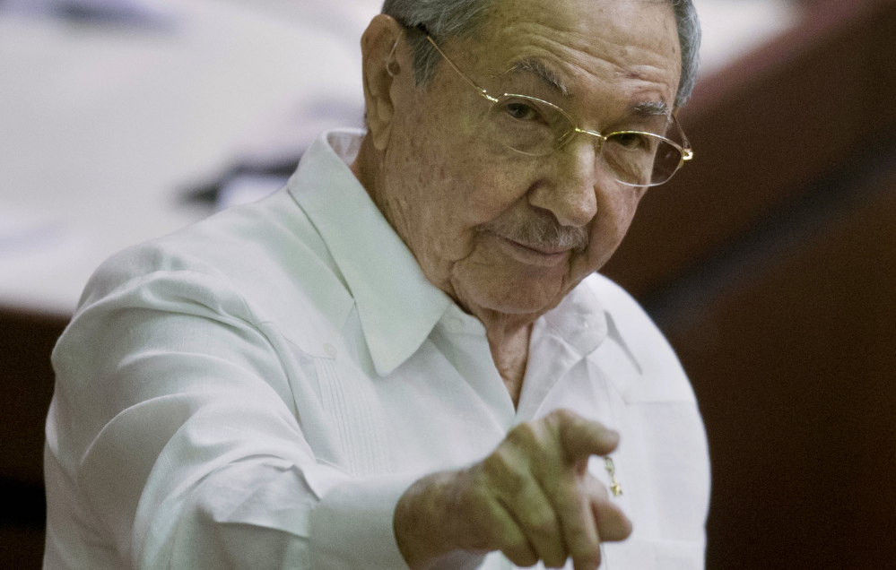 Cuba's President Raul Castro reminds the media Saturday that the U.S. embargo must be lifted.