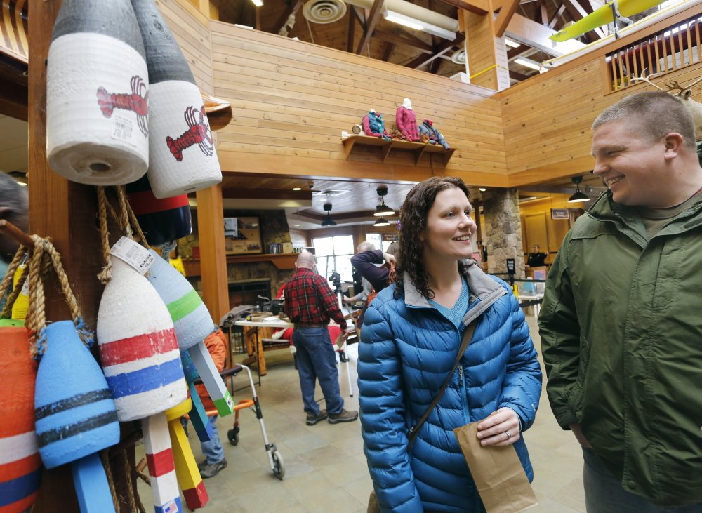 Kelly and Andrew Van Brocklin of Alfred finish gift shopping in Kittery after handing off their kids to relatives there.