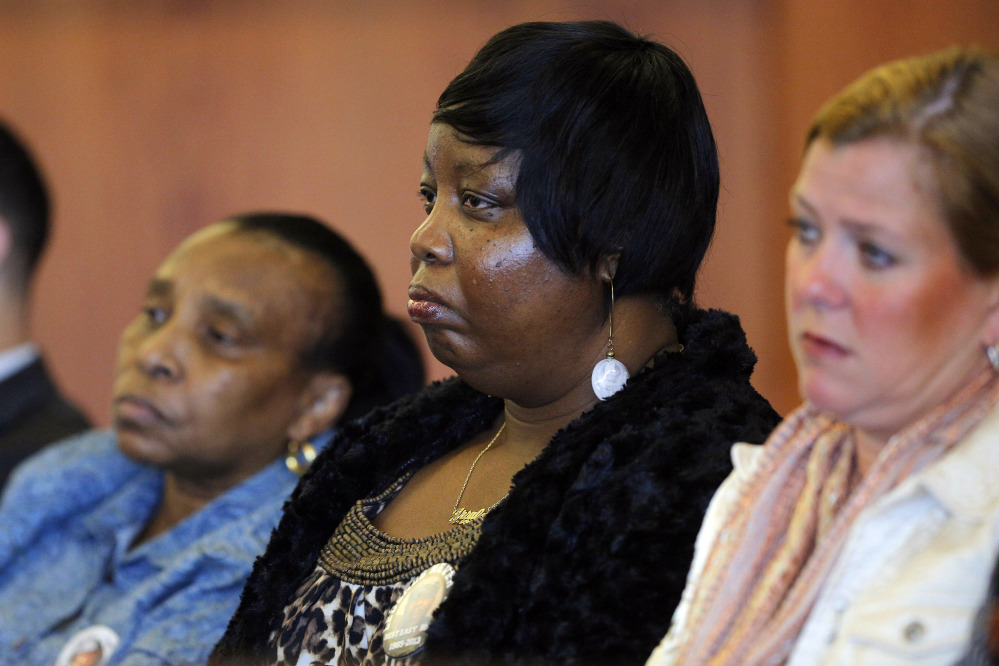 Ursula Ward, center, mother of slain semi-professional football player Odin Lloyd, attends a pretrial hearing for former New England Patriots tight end Aaron Hernandez in Fall River, Mass., Monday.