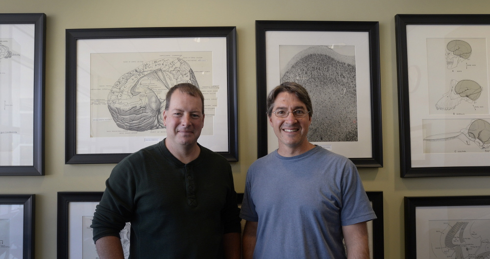 Edward Bilsky, left, and Ian Meng are co-directors of the Center of Biomedical Research Excellence for the Study of Pain and Sensory Function at the University of New England. Bilsky says UNE students get more than 50 hours of pain-related instruction, far surpassing the average 12 hours that others receive.