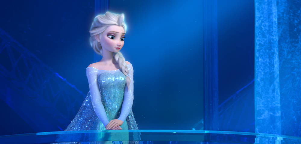 "This image provided by Disney shows a teenage Elsa the Snow Queen, voiced by Idina Menzel, in a scene from the animated feature ""Frozen."""