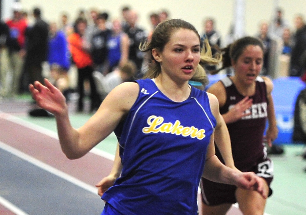 Kate Hall from Lake Region easily wins the Girls Senior 55 yrd Dash at the Western Maine Conference Indoor Track Championships. She also set a record in the long jump.      Saturday, February 8, 2014.   Gordon Chibroski, Staff Photographer