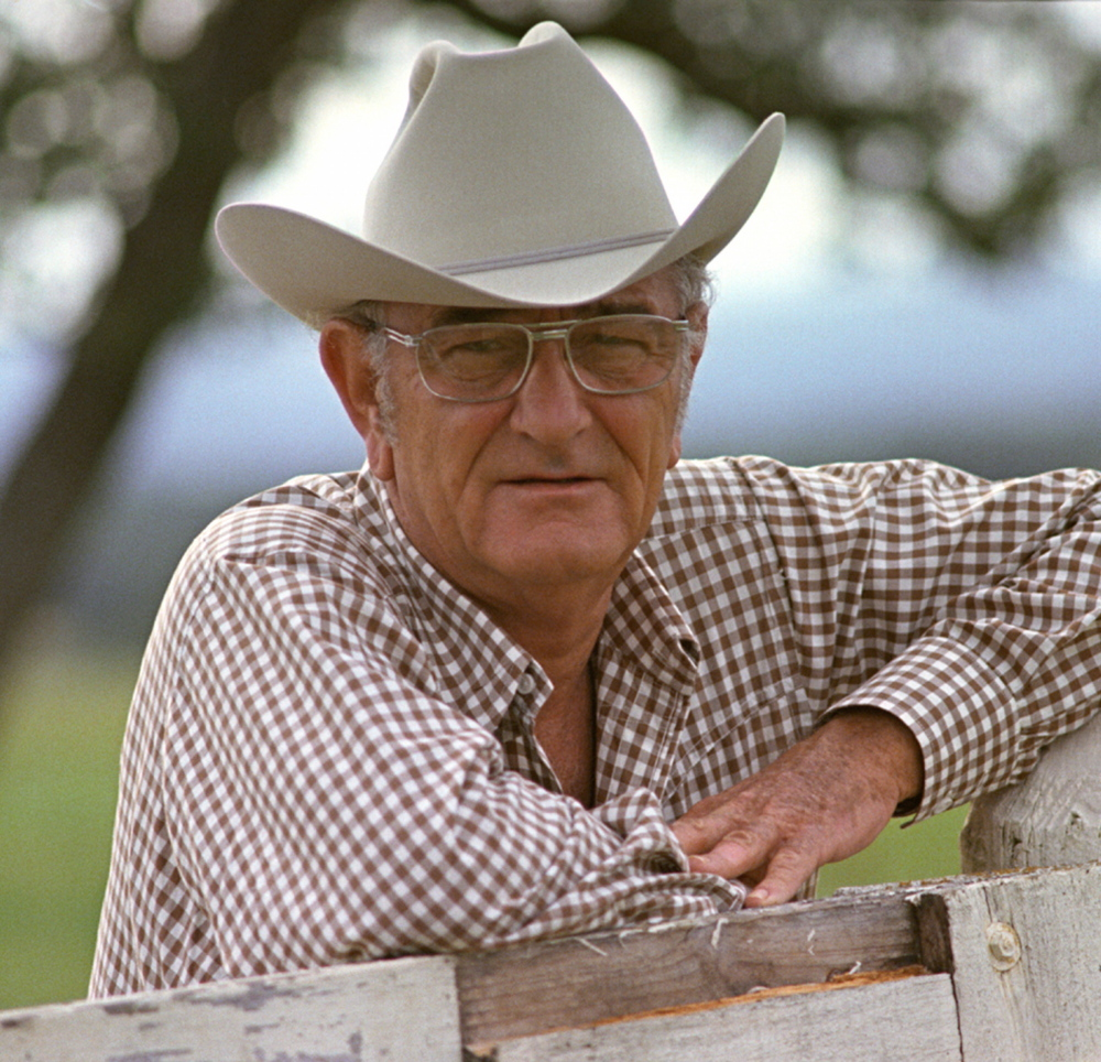 Former President Lyndon B. Johnson poses in 1972 at his ranch near Stonewall, Texas.