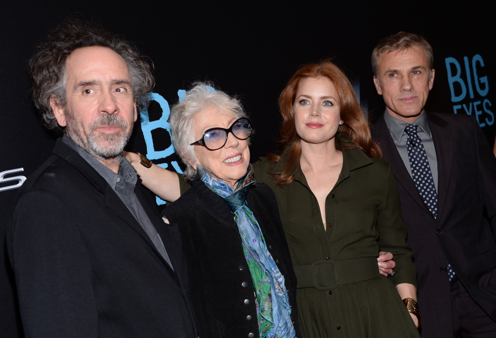 "Margaret Keane with director Tim Burton, left, Amy Adams and Christoph Waltz at the premiere of ""Big Eyes"" at the Museum of Modern Art in New York."
