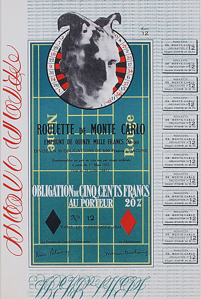"""Monte Carlo Bond,"" 1924/1938, color reproduction printed offset lithograph."