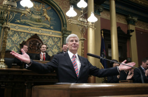Michigan Gov. Rick Snyder, a former computer company executive, has the trickiest credentials to tout in a Republican presidential primary. 2014 Associated Press file photo