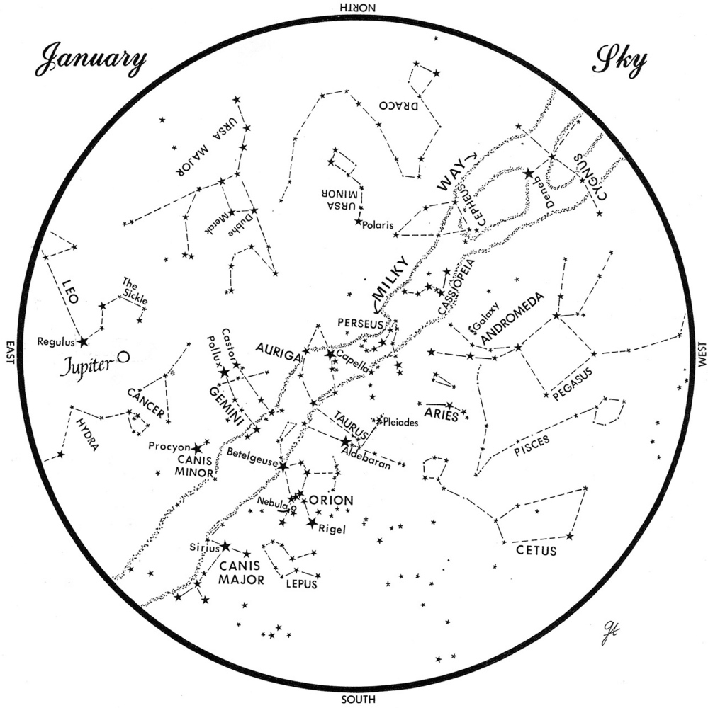 This chart represents the sky as it appears over Maine in January. The stars are shown as they appear at 9:30 p.m. early in the month, 8:30 p.m. at midmonth and 7:30 p.m. at month's end. Jupiter is at its midmonth position. To use the map, hold it vertically and turn it so the direction you are facing is at the bottom.