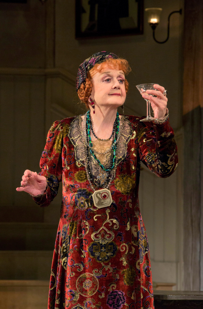 "Angela Lansbury plays Madame Arcati in Noel Coward's ""Blithe Spirit"" at the Ahmanson Theatre in Los Angeles, where the comedy has a six-week run."